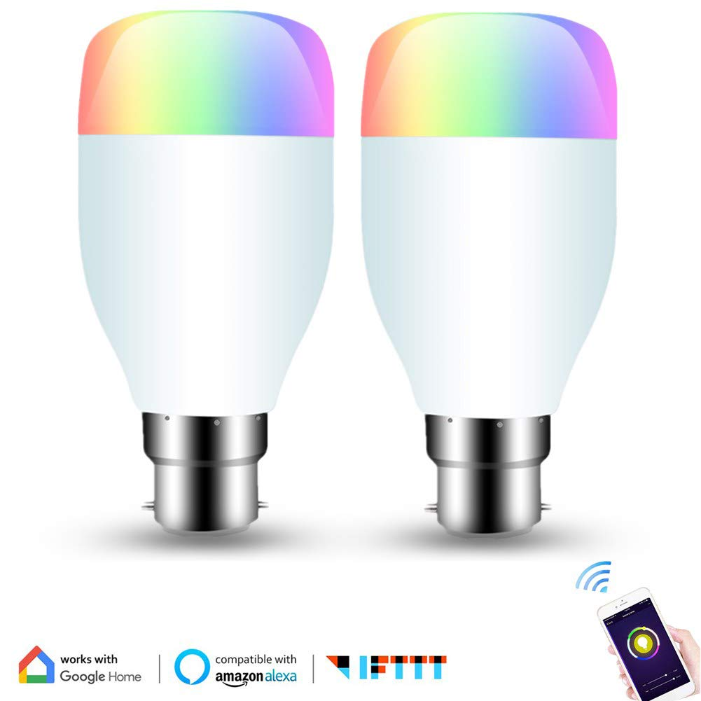 Smart Bulb Compatible with Alexa Echo and Google Assistant WiFi Light Bulb B22 Bayonet Smart Colour Changing Light Bulb Dimmable, Timing Switch, Remote Control by Smartphone, No Hub Required