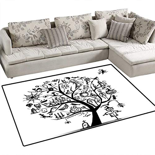 Halloween Bath Mat 3D Digital Printing Mat Sketchy Spooky Tree with Spooky Design Objects and Wicked Witch Broom Abstract Door Mat Increase 3'x5' Black White ()
