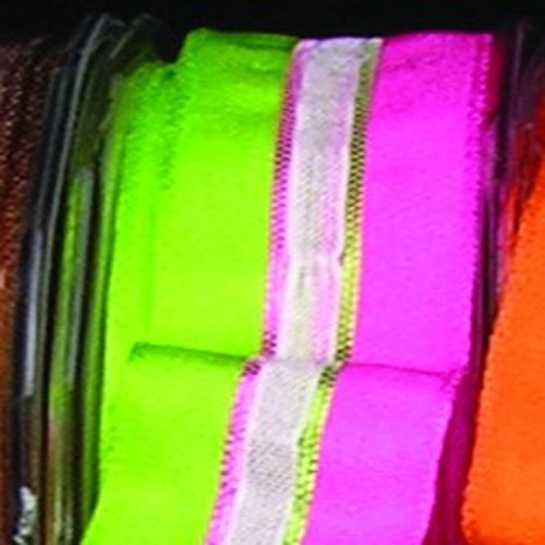 Green and Pink Narrow Taffeta with Sheer White Stripe Wired Craft Ribbon 22mm x 108 Yards