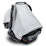 2 in 1 Nursing Scarf Cover Up Apron for Breastfeeding & Baby Car Seat Cover - Universal Fit for Newborns, Infants, Boys & Girls All Weather - Organic Cotton Breathable Canopy Blanket