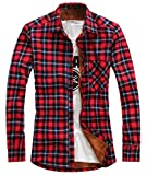 chouyatou Men's Casual Long Sleeve Fleece Lined Plaid Flannel Buttoned Overshirts Jacket (X-Large, M06)