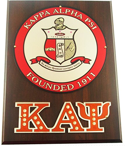 (Cultural Exchange Kappa Alpha Psi Circle Shield Wooden Wall Plaque [Brown - 12