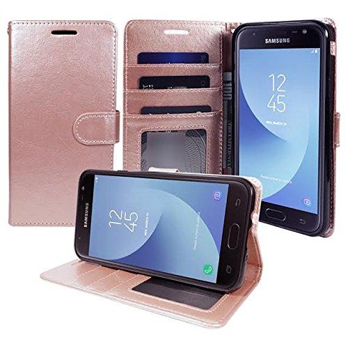 ZASE Case for Samsung J7 V, Galaxy J7 Prime, J7 Perx, J7 Sky Pro Wallet Pouch Folio Premium PU Leather Case w/ [Kickstand] ID Card Slot Strap for Galaxy J7V, J7 Perx, J7 Sky Pro (Rose Gold Pink)