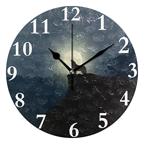 HangWang Wall Clock Lonely Singer Evening Wolf Silent Non Ticking Decorative Round Digital Clocks for Home/Office/School Clock