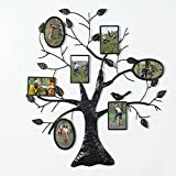 Asense Brown Black Decorative Collage Bronze Iron Metal Wall Hanging Family Tree Picture Photo Frame, 7 Opening, 4×6″ 4×4″ (7 Openings,3 Oval 4-4*6,3-4*4)