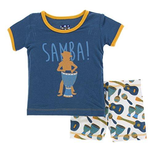 (Kickee Pants Little Boys Print Short Sleeve Pajama Set with Shorts, Samba, 2T)