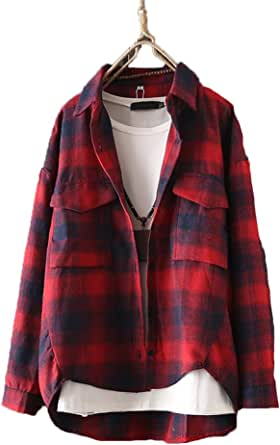 Autumn Womens Shirt Loose Long Sleeve Turn Down Collar Top Plaid Casual Style Shirt Coat