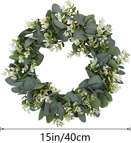 Smdoxi White Artificial Wreath Eucalyptus Loosestrife Ring Pastoral Wedding Door Decoration Outdoor Window Wreath