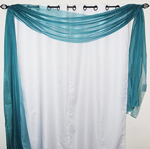 Gorgeous Home 1 Solid Decorative Teal Blue Elegant Scarf Valance Sheer Voile Window Panel Curtain 216″ long Swag Topper