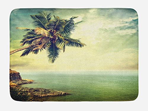 Ambesonne Hawaiian Bath Mat, Palm Tree Rocky Shore Caribbean Mist Traveling Resort Scenic, Plush Bathroom Decor Mat with Non Slip Backing, 29.5 W X 17.5 L Inches, Almond Green Pale Yellow Brown
