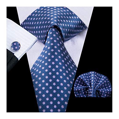 Hi-Tie Men Blue Polka Dots Tie Handkerchief Necktie with Cufflinks and Pocket Square Tie Set