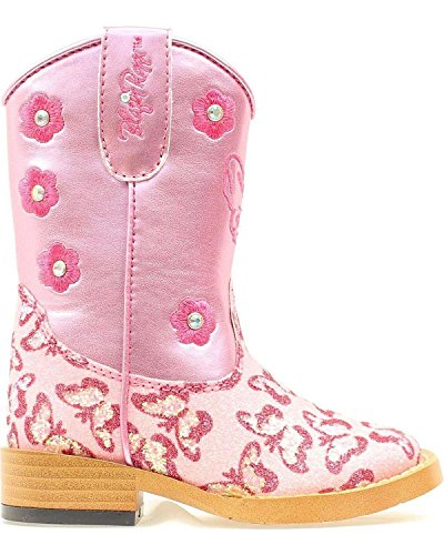 Blazin Roxx Toddler-Girls' Pecos Glitter Zipper Cowgirl Boot Square Toe Pink 8 D(M) (Pink Cowgirl Boots Toddler)
