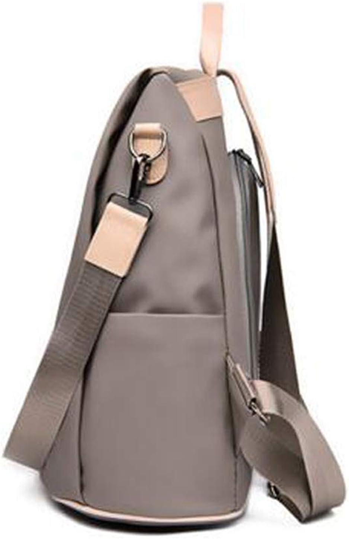 Khaki YUNS Women Waterproof Nylon Anti-theft Backpack Lightweight Rucksack with Hairball