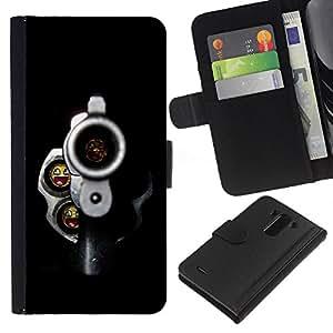 BearCase / Cuero de la tarjeta la carpeta del tirón Smartphone Slots Protección Holder /// LG G3 /// Balas sonrientes Pistola