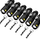 6 Pack Mini Q5 LED Flashlight 7W 350LM LED Adjustable Focus Torch + 6X Emergency Whistles Sturdy but Light Aluminium Keychain Signals for Dog Walking Camping Hiking Gift-giving