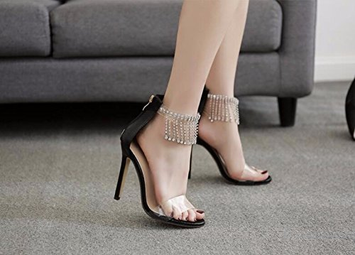 trapano super GTVERNH 37 acqua tacco sandali 10 buckle fiocco tacco black sexy 12cm plastica metallo qZwZpXf