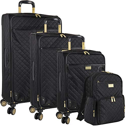 Vince Camuto 3 Piece Hardside Spinner Luggage Suitcase Set, Black/Brown