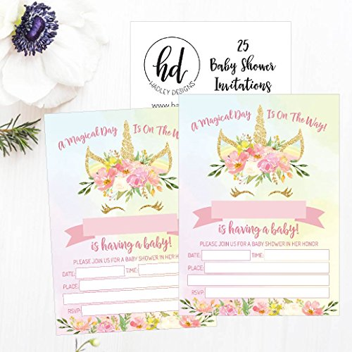 25 Pink Blush Gold Girl Unicorn Baby Shower Invitations Cute Floral
