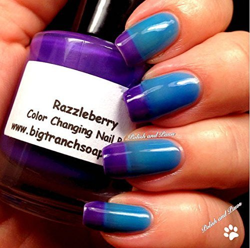 Color Changing Thermal Nail Polish, Ombre Blue to Purple FREE SHIPPING .5oz bottle - Mood Polish - ''Razzleberry''- Gift for Her - Girlfriend Gift