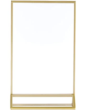 d8665c380a0f Super Star Quality Clear Acrylic Double Sided Frames Display Holder with  Vertical Stand and 3mm Gold