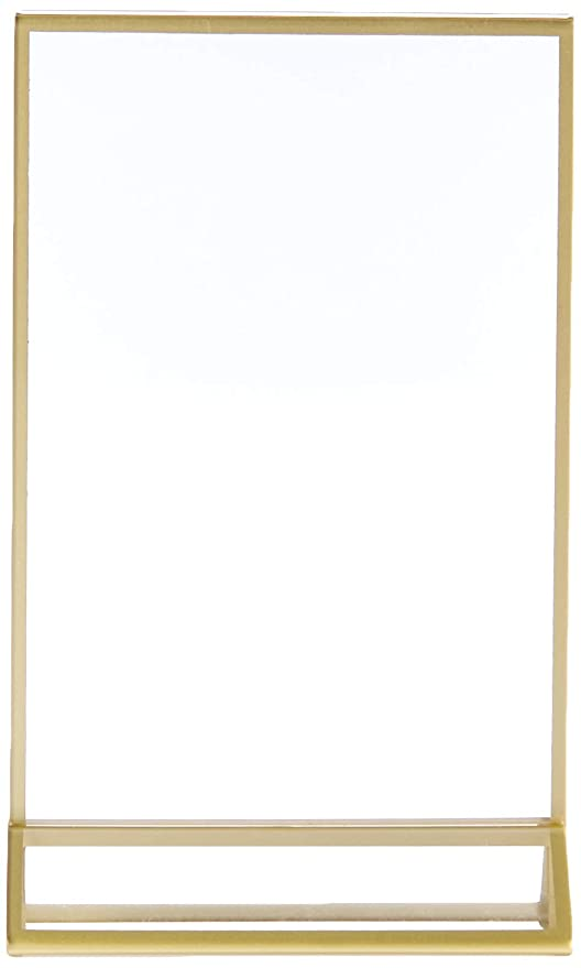170eb39a2e5 Amazon.com  super star quality Clear Acrylic Photo Frame Display Table Card  Holder with Vertical Stand and 3mm Gold Border