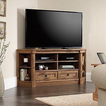 Sauder Palladia Corner TV Stand in Vintage Oak (Oak Vintage Tv)