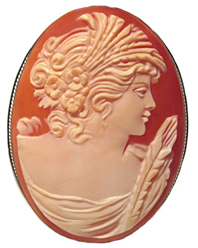 Cameo Brooch Pendant Autumn Love Italian Carnelian Shell Master Carved, Sterling (Agate Cameo Brooch)