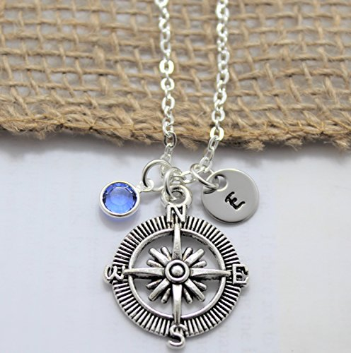 Compass Necklace - Compass Jewelry - Personalized Initial & Birthstone - Fast ()