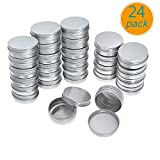 Yarachel Pack of 24 Screw Top Round Aluminum Tins Cans - 2oz / 60ml Aluminum Screw Lid Round Tin Container Bottle