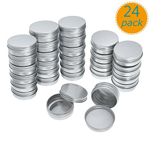 Yarachel Pack of 24 Screw Top Round Aluminum Tins Cans - 2oz / 60ml Aluminum Screw Lid Round Tin Container Bottle (Tin Large Ounce 2)