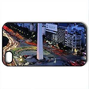 avenida - Case Cover for iPhone 4 and 4s (Modern Series, Watercolor style, Black)