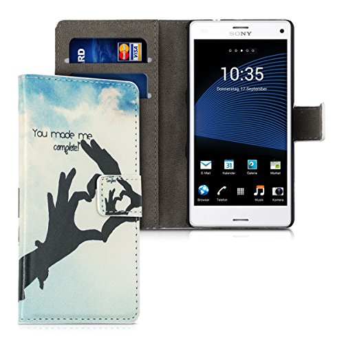 - kwmobile Chic synthetic leather case for the Sony Xperia Z3 Compact with convenient stand function - You Complete Me in black light blue blue