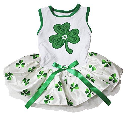 Image of Petitebella St Patrick's Day Clover White Shirt Clovers Tutu Puppy Dog Dress (Medium)