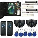 Magnetic Lock Network 2 Doors RFID Access Control Kits Exit Motion Sensor Enroll USB Reader 110V Power Supply Box Key Fobs (Phone APP remotely Open door)
