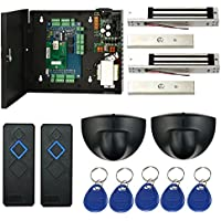 Magnetic Lock Network 2 Doors RFID Access Control Kits Exit Motion Sensor Enroll USB Reader 110V Power Supply Box Key Fobs (Phone APP remotely Open door)