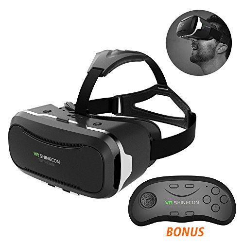 SIMPZIA VR Virtual Reality Headset 3D VR Glasses Helmet + Smart Bluetooth Remote Controller Comfortable Wearing for Video Games Movies