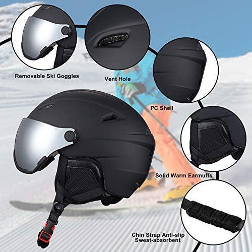 NESSKIN Ski Helmet Integrally-Molded Snowboard Helmet for Adult and Youth, Detachable Ski Goggles