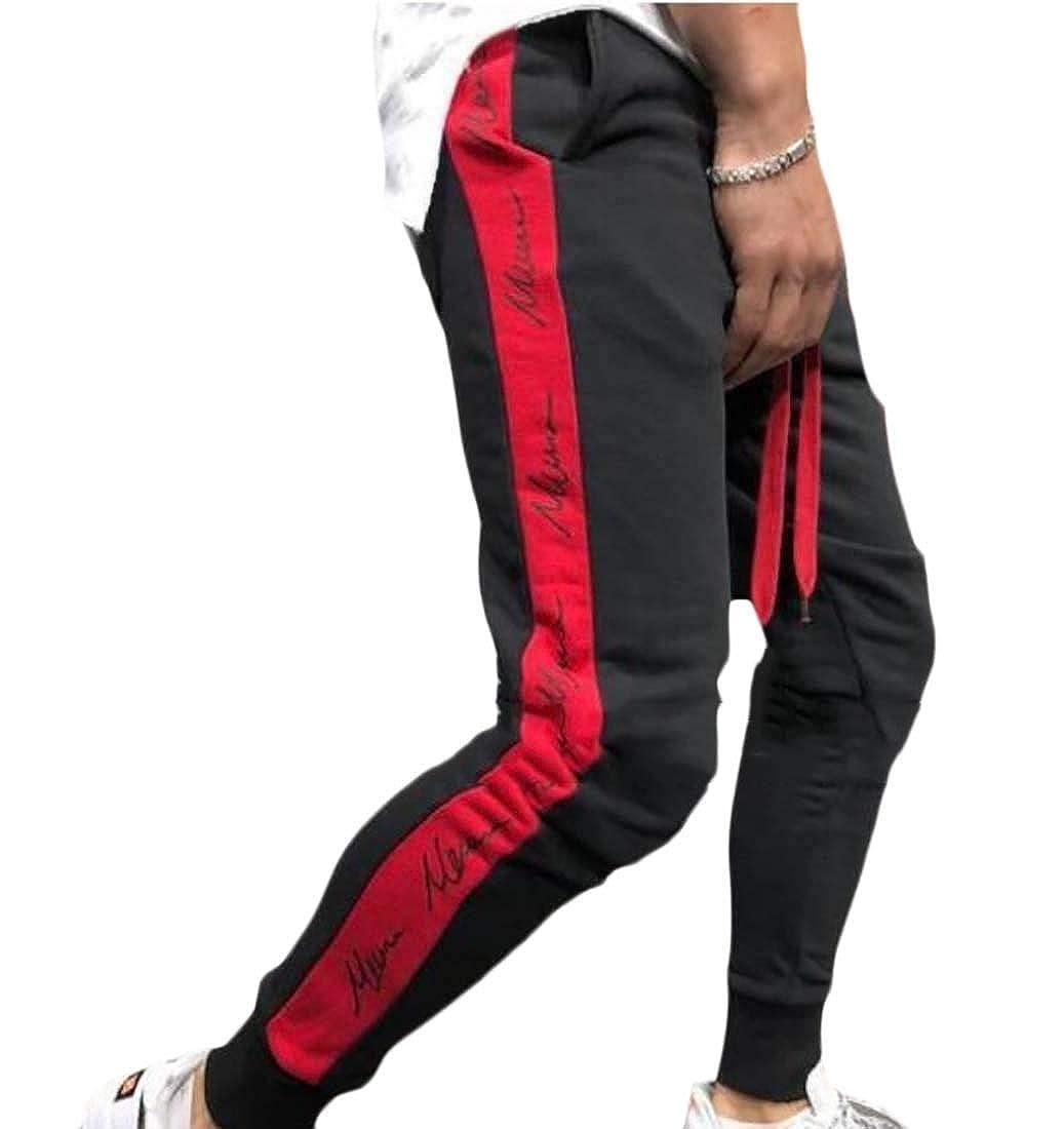 Lutratocro Mens Letter Print Sport Running Casual Elastic Waist Jogger Pants