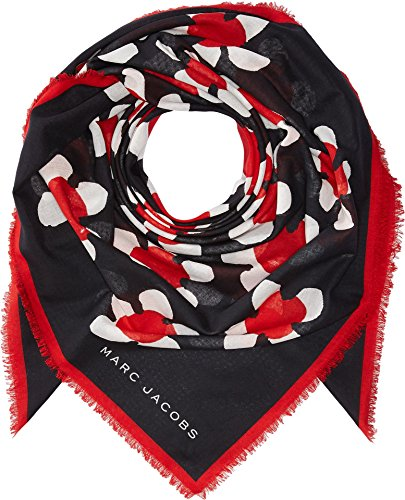 Marc Jacobs Women's Daisy Large Square Scarf, Red Multi, One (Marc Jacobs Designer Scarf)