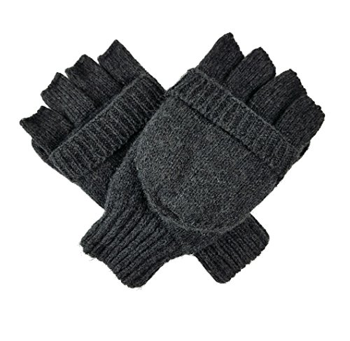 Bruceriver Knit Convertible Fingerless Driving Gloves with Mitten Cover