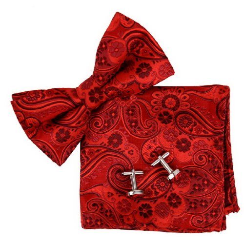 BT2172 Red Patterned Fashion Valentines Day Presents For Him Silk Pre-tied Bow Tie Cufflink Hanky Gift Idea By Epoint