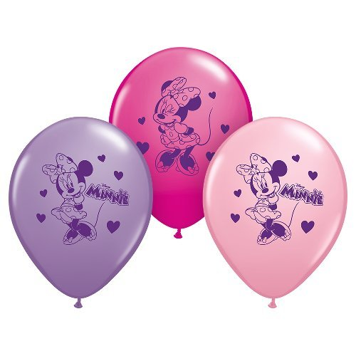 Pioneer Party Group Officially Licensed Disney 12-Inch Latex Balloons, Minnie Mouse Assorted Colors, 6-Count -