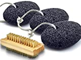 Bath Blossom Foot Pumice Stones (3 Pack) Natural Earth Lava - Skin Exfoliating Feet Scrubber and Scraper - Great for Dead Skin, Callus and Corn Removal, Nail Cleaning Brush Included