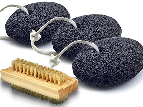 Bath Blossom Natural (Bath Blossom Foot Pumice Stones (3 Pack) Natural Earth Lava - Skin Exfoliating Feet Scrubber and Scraper - Great for Dead Skin, Callus and Corn Removal Bonus Nail Cleaning Brush)