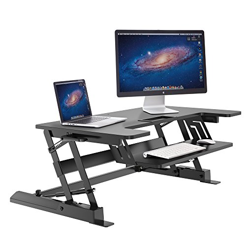 HUANUO Standing Desk, Height Adjustable Sit-Stand Desktop Workstation from 6.5 to 16.5 inch, Gas Spring Sit to Stand Desk Converter, Dual Computer Monitor Riser with Retractable Keyboard Tray