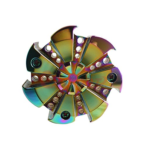 【2017 Upgraded】Colorful Triangle Spinner and Double Fidget Spinner Metal Material New Style EDC Hand Fidget Spinner for High Speed Relieving ADHD, OCD, Anxiety (Rainbow 7)