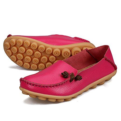 Fereshte Damesmode Lederen Instappers Casual Slip-on Zachte Zolen Platte Schoenen Voor Het Boodschappen Doen Perzikrood