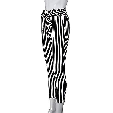 Amazon.com: Cyswi Pantalones de cintura alta para mujer con ...