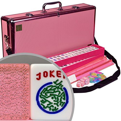 """American Mahjong (Mah Jongg, Mahjongg) Set, 166 Tiles, All-in-One Racks with Pushers, Pink Aluminum Case, """"Pink Sparkles"""" by Yellow Mountain Imports"""