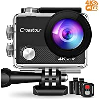 Crosstour 4K Action Camera 16MP WiFi Underwater Cam 30M...